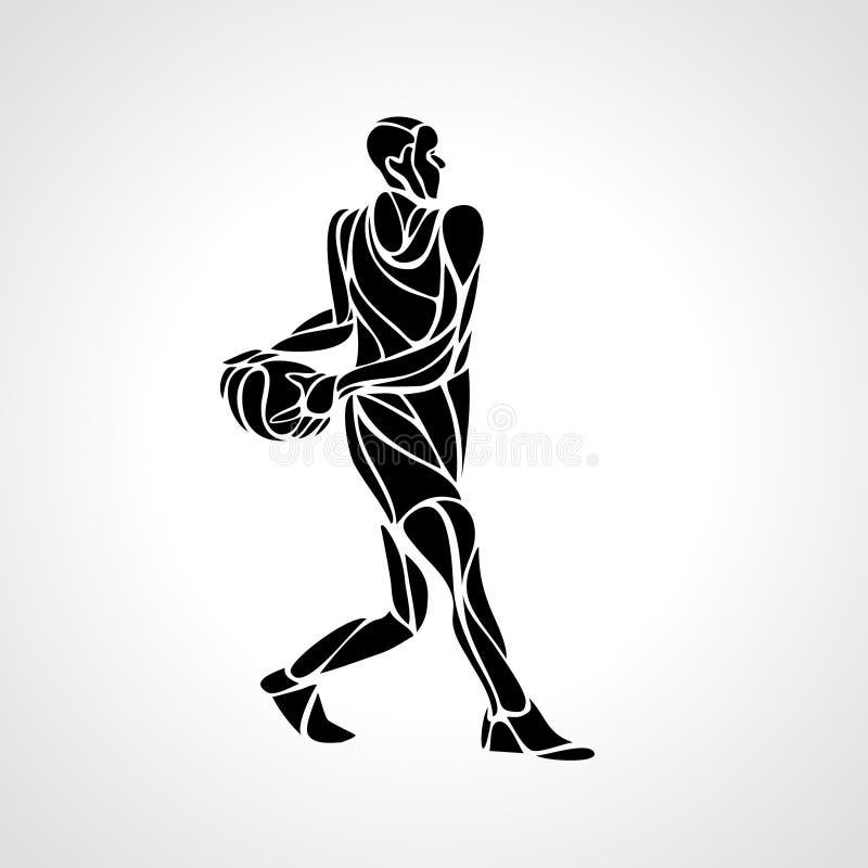 Abstraktes Schattenbild des Basketball-Spielers lizenzfreie abbildung