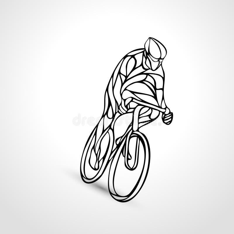 Abstraktes Schattenbild des Radfahrer Lineart-Fahrrad-Radfahrerlogos stock abbildung
