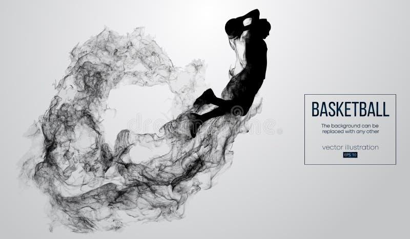 Abstraktes Schattenbild eines Basketball-Spielers auf weißem Hintergrund Der springende Basketball-Spieler und führt Slam Dunk du stock abbildung