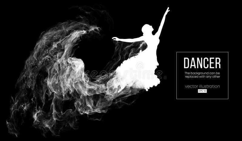 Abstraktes Schattenbild eines dencing Mädchens, Frau, Ballerina auf dem dunklen, schwarzen Hintergrund Ballett und moderner Tanz stock abbildung