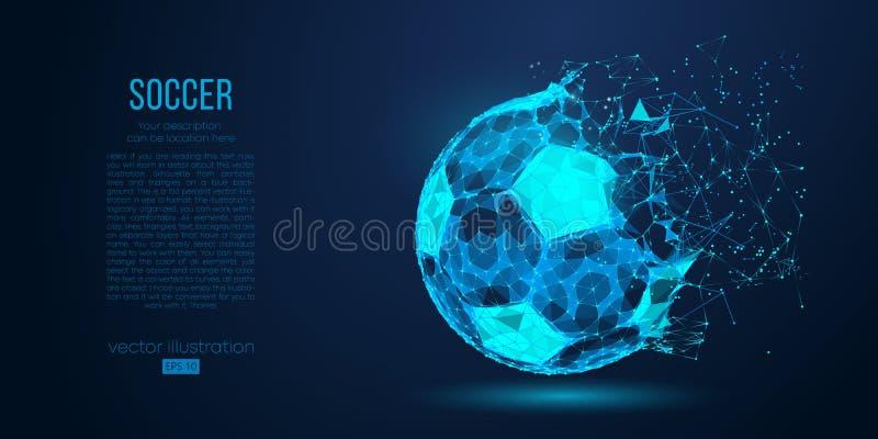 Abstraktes Schattenbild eines Fußballs von den Partikellinien und -dreiecken auf blauem Hintergrund Fußball-Vektorillustration lizenzfreie abbildung