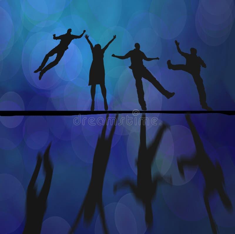 Abstraktes Schattenbild und Reflexionen der Tänzer stock abbildung