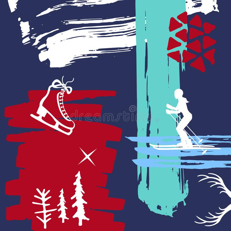 Abstraktes schrulliges Weihnachten, Winterzeit-Pinselkunstanschlagbeschaffenheiten, umrissene Rochen und Ski fahrende Mädchenscha stock abbildung