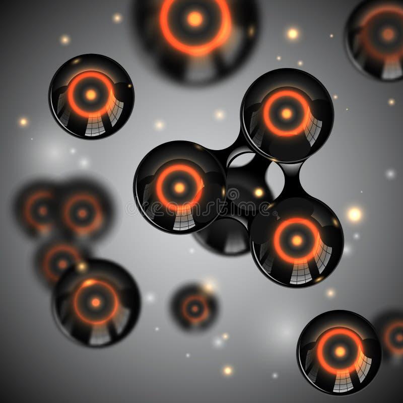 Abstraktes schwarzes glattes Moleküldesign des Vektors Atome mit Glühenkernlicht funkt Illustration Futuristischer ausländischer  lizenzfreie abbildung