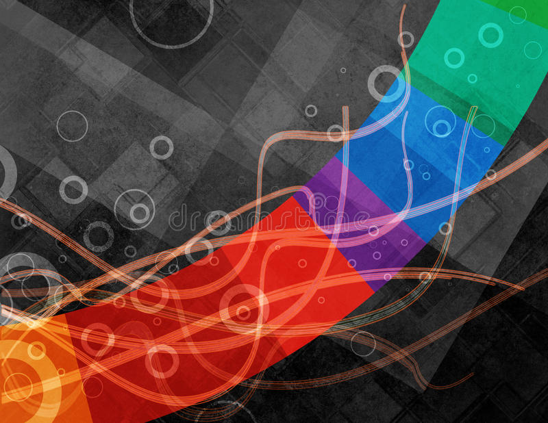 Abstraktes schwarzes Hintergrunddesign mit bunten Streifen- und Kreisringen und Linie Wellen lizenzfreie abbildung