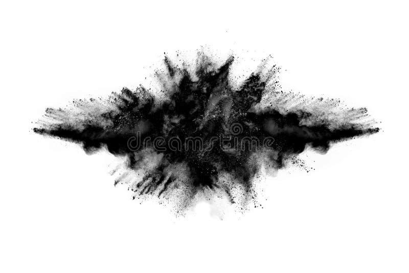 Abstraktes Schwarzpulver splatted auf wei?em Hintergrund stockbilder