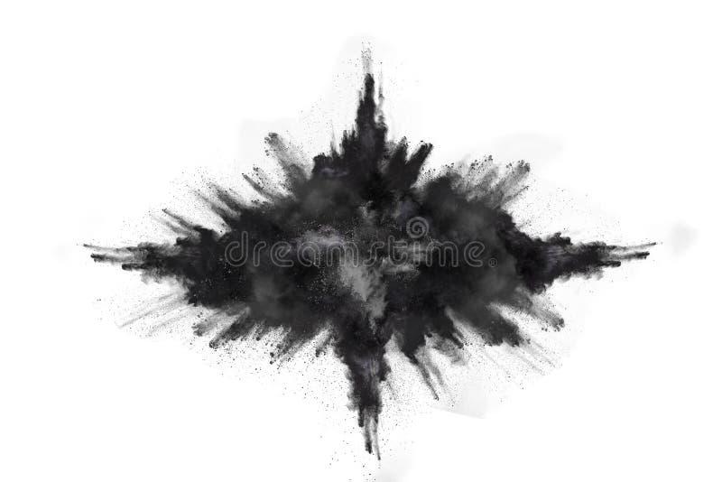 Abstraktes Schwarzpulver splatted auf wei?em Hintergrund stockfotografie