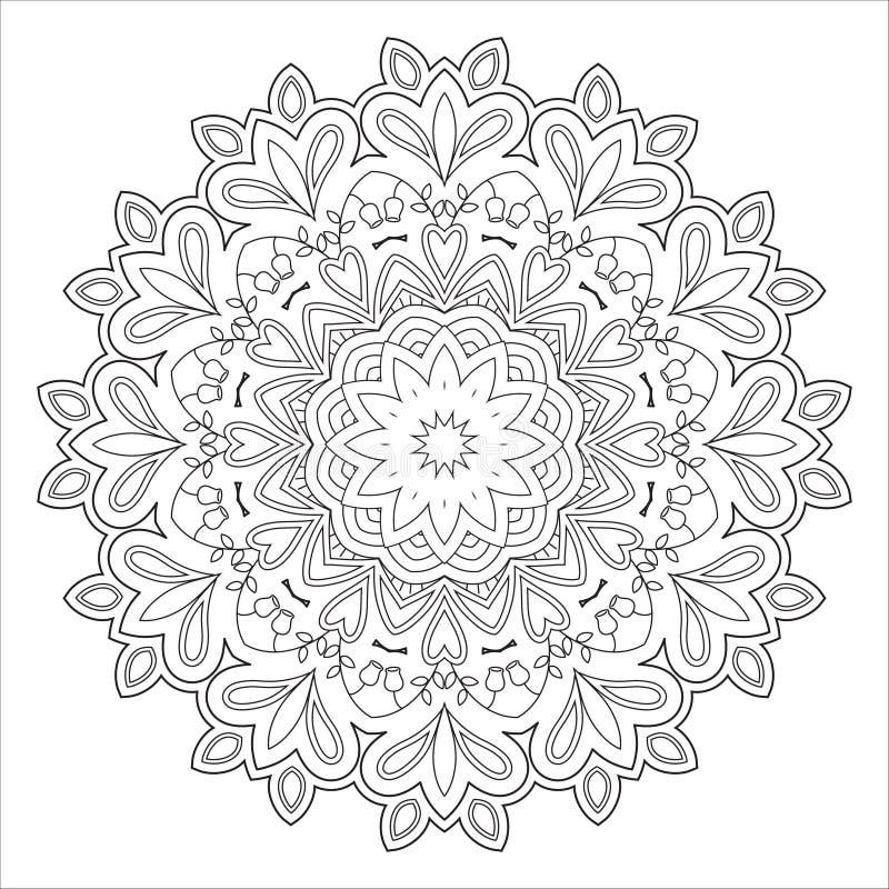 Abstraktes Schwarzweiss-Muster, Mandala Vektor Abbildung ...