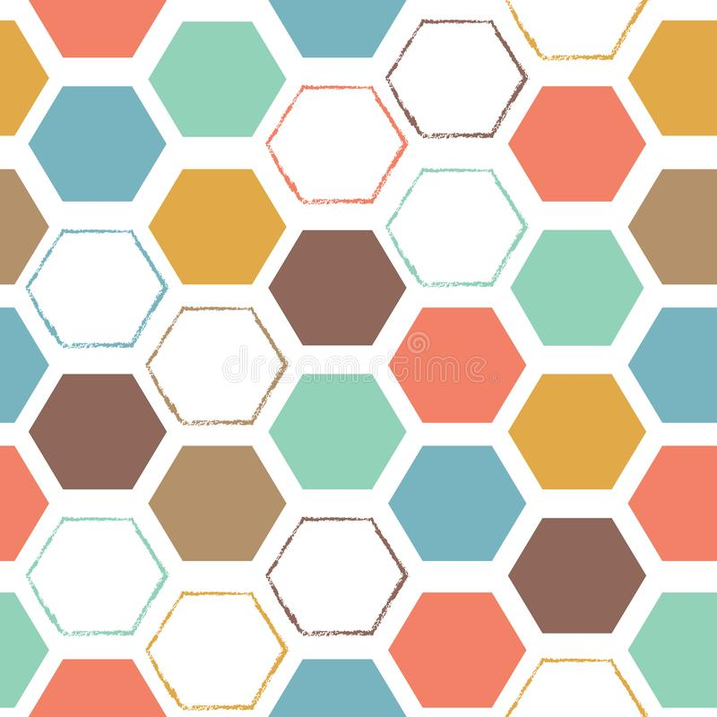 Abstraktes sechseckiges buntes nahtloses Muster stock abbildung