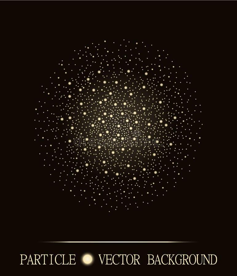 Abstraktes shpere von glühenden hellen Partikeln sperren braunen Hintergrund Technologiedesign der atomaren Explosion Auch im cor lizenzfreie abbildung