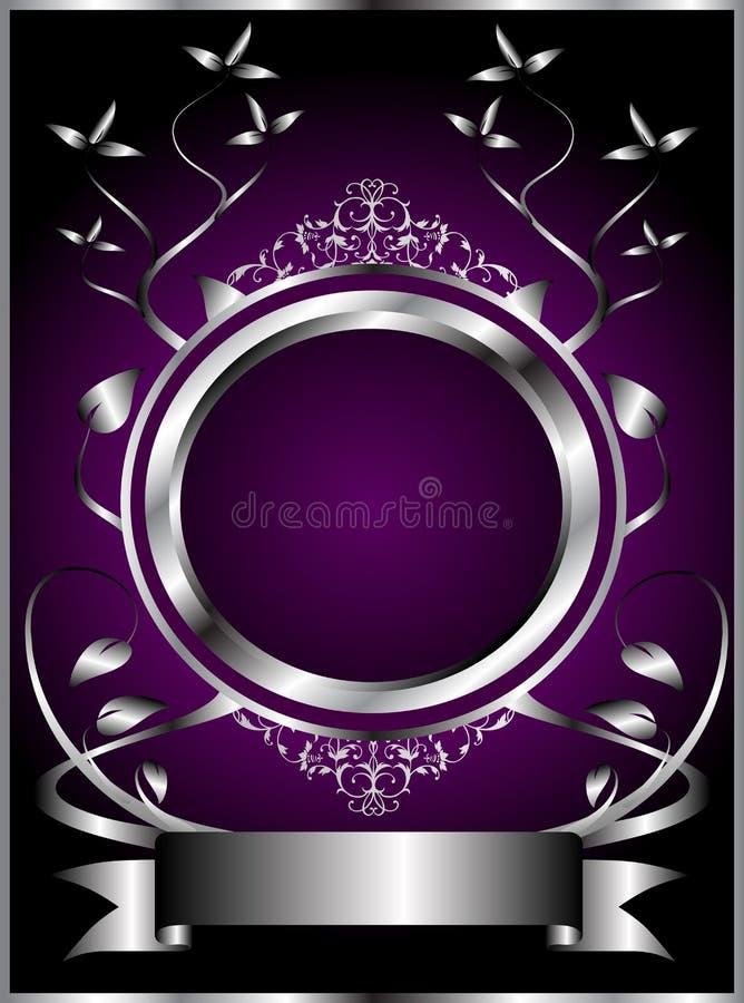 Abstraktes Silber und purpurrote Blumenvektorauslegung vektor abbildung