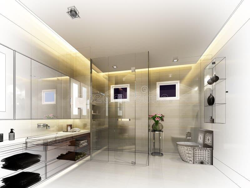 Abstraktes Skizzendesign des Innenbadezimmers lizenzfreie abbildung