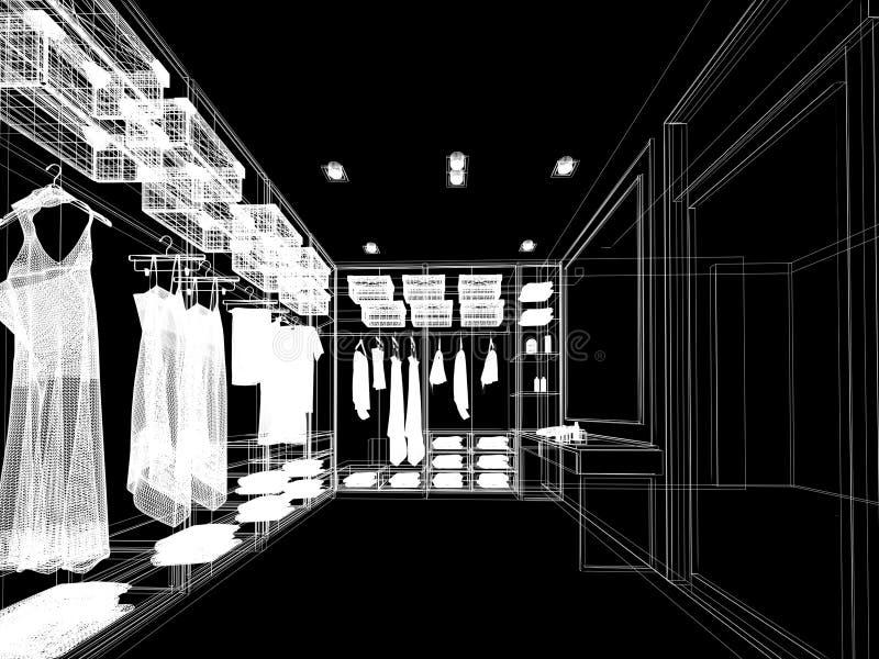 Abstraktes Skizzendesign des Innenbegehbaren schranks vektor abbildung