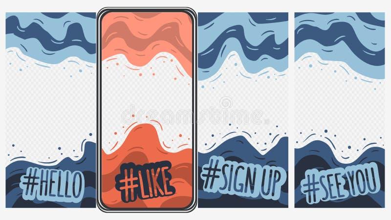 Abstraktes Social Media-Geschichten-Schablonen-Netz bewegliche App-Schnittstellen-Hintergrund-Vektor-Grafik lizenzfreie abbildung