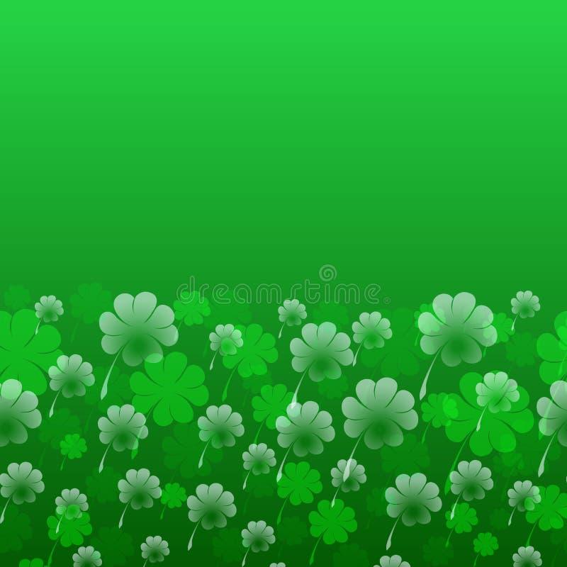 Abstraktes St- Patrick` s Tagesmuster Transparentes vierblättriges Kleeblatt auf einem grünen Hintergrund als Symbol des Feiertag lizenzfreie abbildung