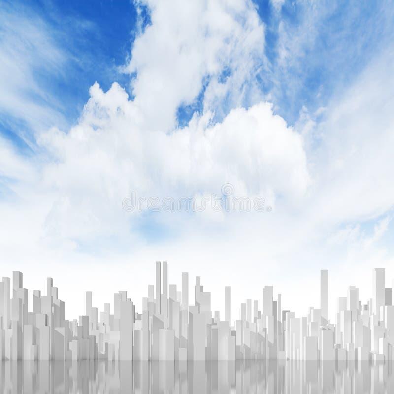 Abstraktes Stadtbild 3d unter bewölktem Himmel lizenzfreie abbildung