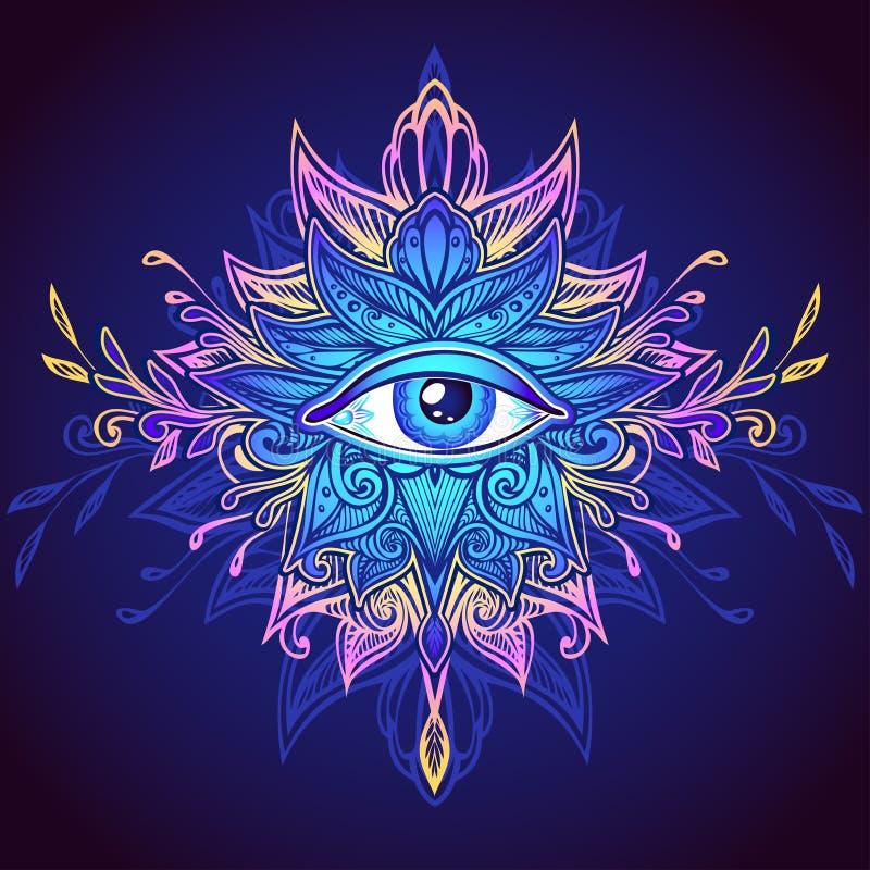 Abstraktes Symbol des Gesamt-sehenden Auges im blauen lila Rosa Boho-Art stock abbildung