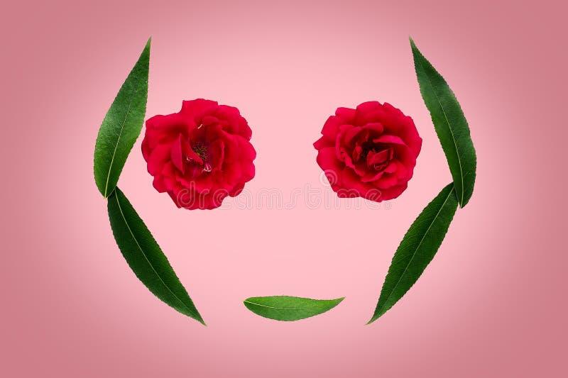 Abstraktes Symbol des Sommers oder des Frühlinges - Schattenbild des Gesichtes von den Blättern und von den Blumen auf rosa Hinte stockfoto