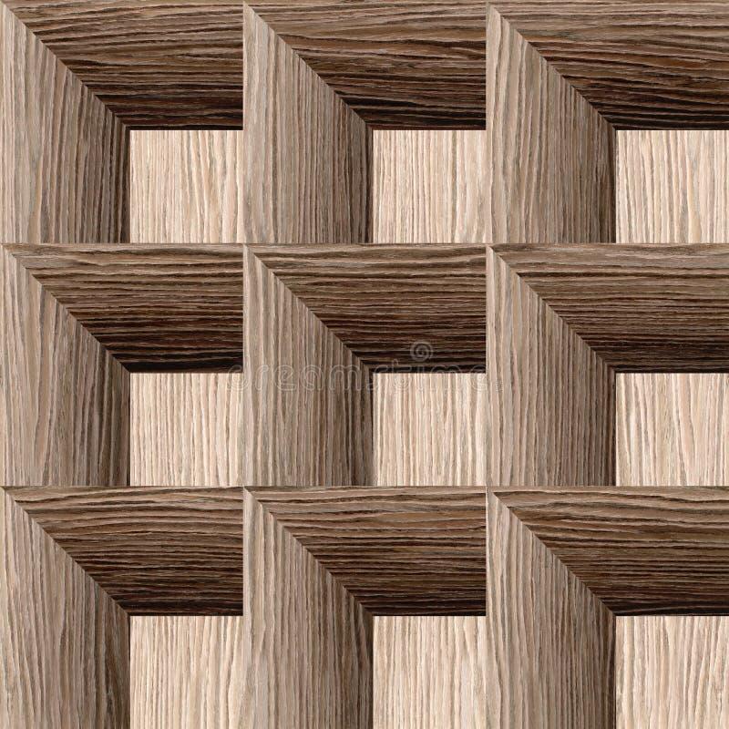 Abstraktes Täfelungsmuster - nahtloser Hintergrund - gesprengte Eichen-Nut lizenzfreie abbildung