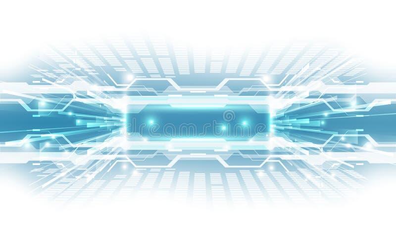 Abstraktes technologisches Hintergrundkonzept mit verschiedenen technischen Elementen Illustration Vektor lizenzfreie abbildung