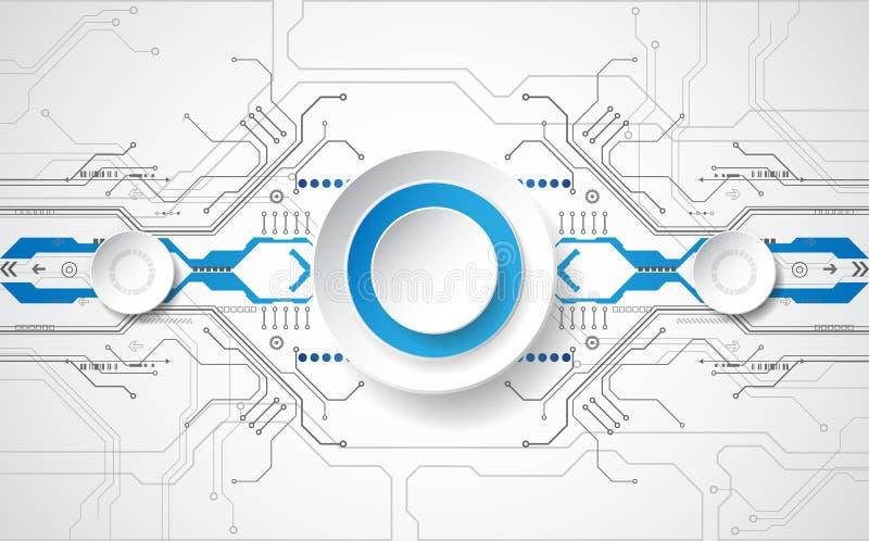 Abstraktes technologisches Hintergrundkonzept mit verschiedenen Technologieelementen Illustration Vektor lizenzfreie abbildung