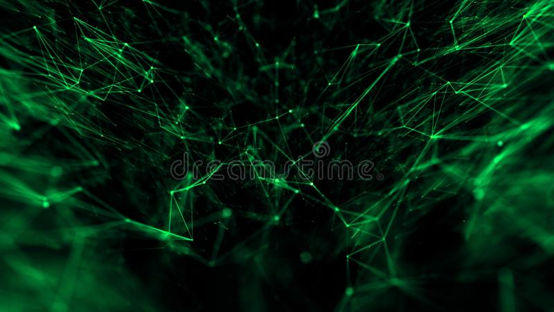 Abstraktes tehnology oder medizinische Netzverbindung von Punktpartikeln und -linien mit Schärfentiefe Grün lizenzfreie abbildung