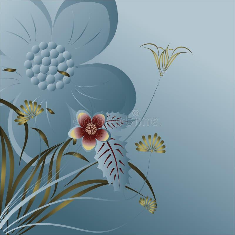 Abstraktes tiefes Meer mit Blumen stock abbildung