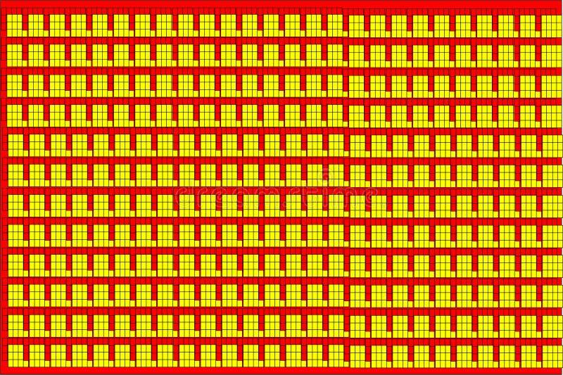 Abstraktes Vektor-Gelb und Hintergrund der roten Backsteine stock abbildung