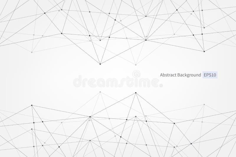 Abstraktes Vektordreieckmuster Linien zeigt wissenschaftliche polygonale Illustration der Verbindung für Geschäft, Technologie, D stock abbildung