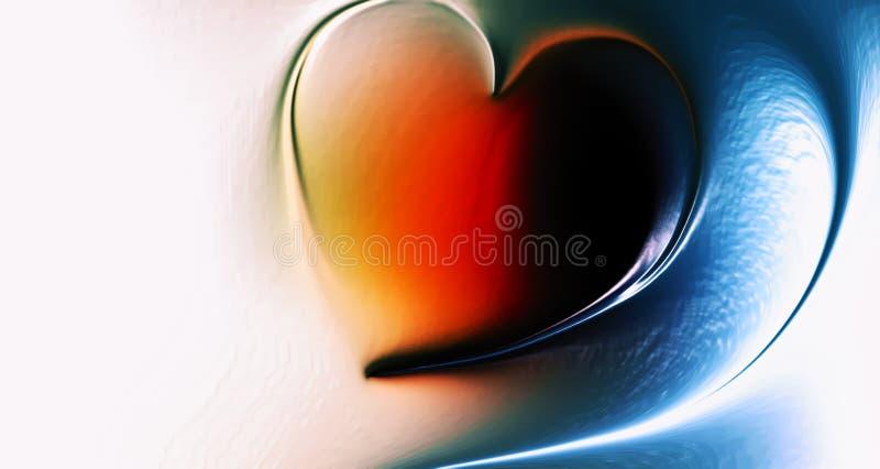 Abstraktes Vektorherz mit mehrfarbigem schattiertem gewelltem Hintergrund mit Lichteffekt und Beschaffenheit, Vektorillustration stockbilder