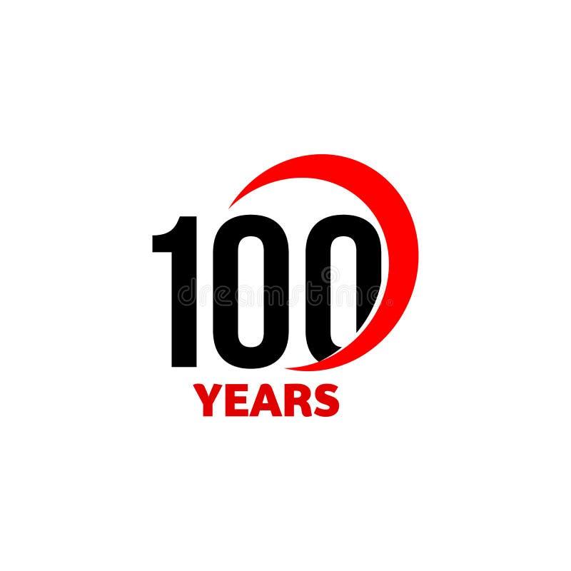 abstraktes Vektorlogo des 100. Jahrestages Hundert alles- Gute zum Geburtstagtagesikone Schwarze Zahlen im roten Bogen mit Text 1 vektor abbildung
