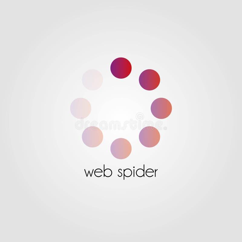 Abstraktes Vektorlogo grafischer Web spider Chip lizenzfreie abbildung
