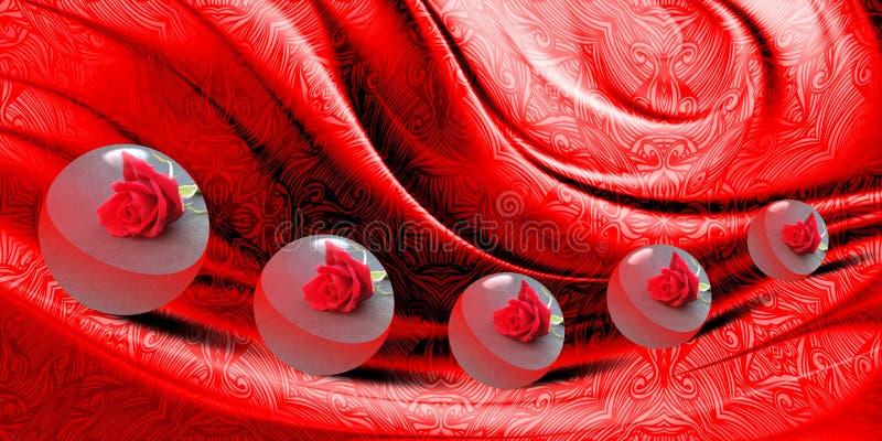 Abstraktes Vektorrot schattierte gewellten strukturierten Hintergrund mit Bewegungen von 3 d-runder Samenkapsel mit Beschaffenhei
