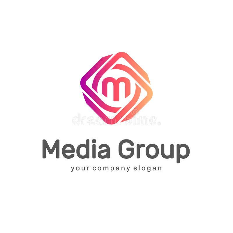 Abstraktes vektorzeichen Medien-Gruppe Multimedialogo lizenzfreie abbildung