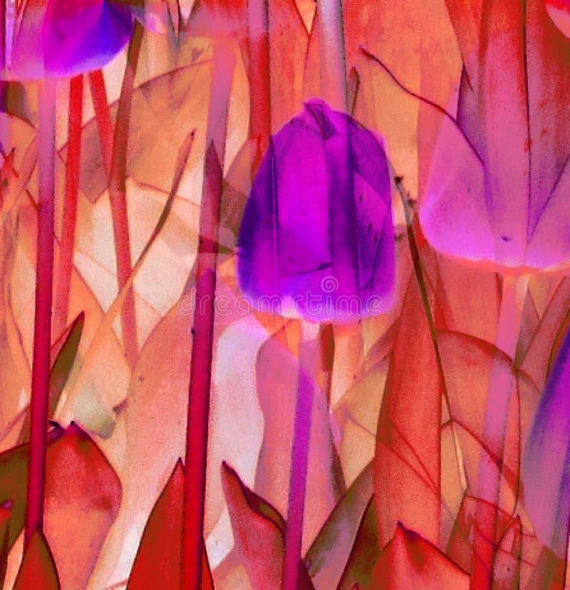 Abstraktes violettes purpurrotes rosa orange Rot der Tulpen und der Blätter beige und braun stock abbildung