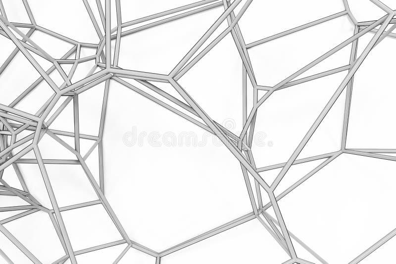Abstraktes voronoi 3d Gitter auf weißem Hintergrund lizenzfreie abbildung