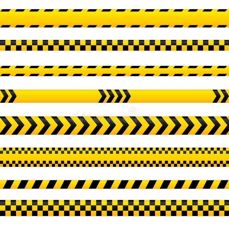 Abstraktes Warnband, gelbe Gefahrenlinien in verschiedenen Stilen leer Kann für Polizei, Unfall, als Barriere verwendet werden stock abbildung