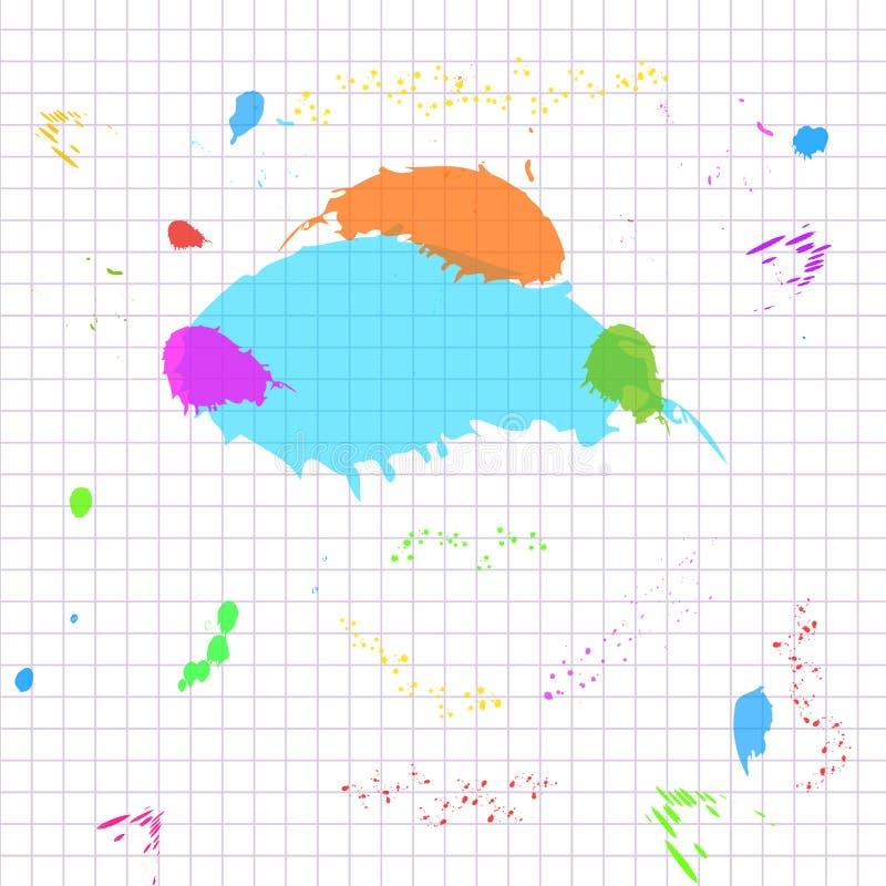 Abstraktes weißes Gitterpapier-Hintergrundmuster mit bunter Farbe spritzt, plätschert Entwurfsschablone für Ausbildung, zurück zu stock abbildung