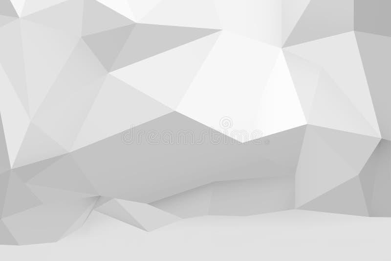 Abstraktes weißes polygonales Muster auf der Wand stock abbildung