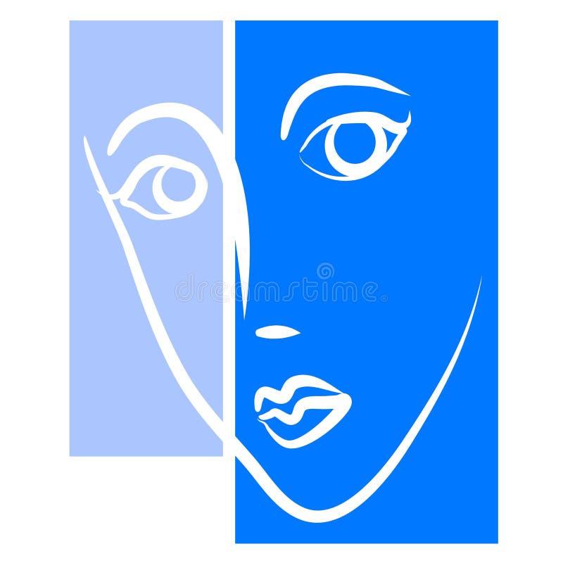 Abstraktes weibliches Hauptgesichts-Blau stock abbildung