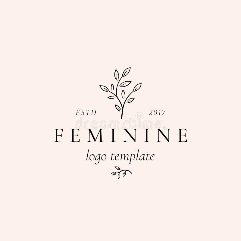 Abstraktes weibliches Vektor-Zeichen, Symbol oder Logo Template Retro- Blumenillustration mit nobler Typografie erstklassig lizenzfreie abbildung