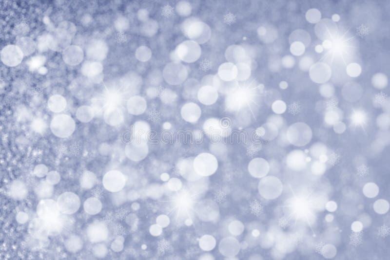 Abstraktes Weihnachtsfunkelnder Hintergrund im Silber