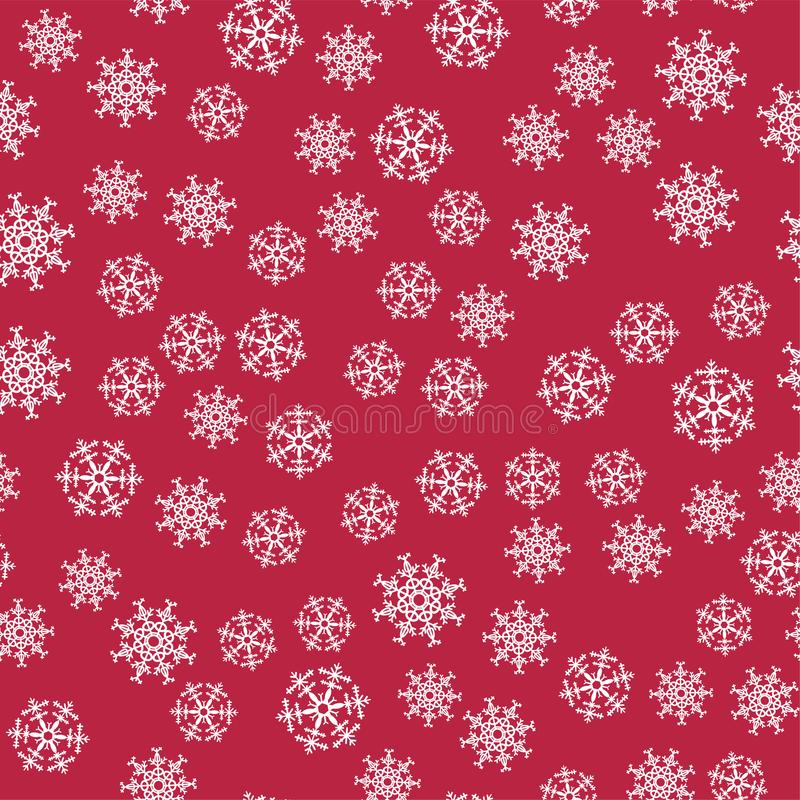 Abstraktes Weihnachtsnahtloses Muster von den weißen Schneeflocken auf rotem Hintergrund Für Feiertag neues Jahr, Feier, Partei vektor abbildung