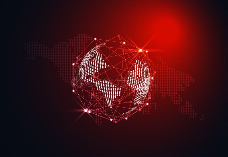 Abstraktes Welt-wireframe Digitaltechnik und Karte punktieren Konzept vektor abbildung