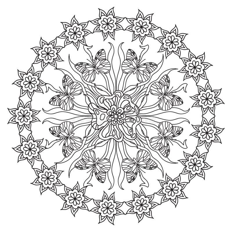 Abstraktes Zentangle Mandala Des Schmetterlinges Stock Abbildung ...