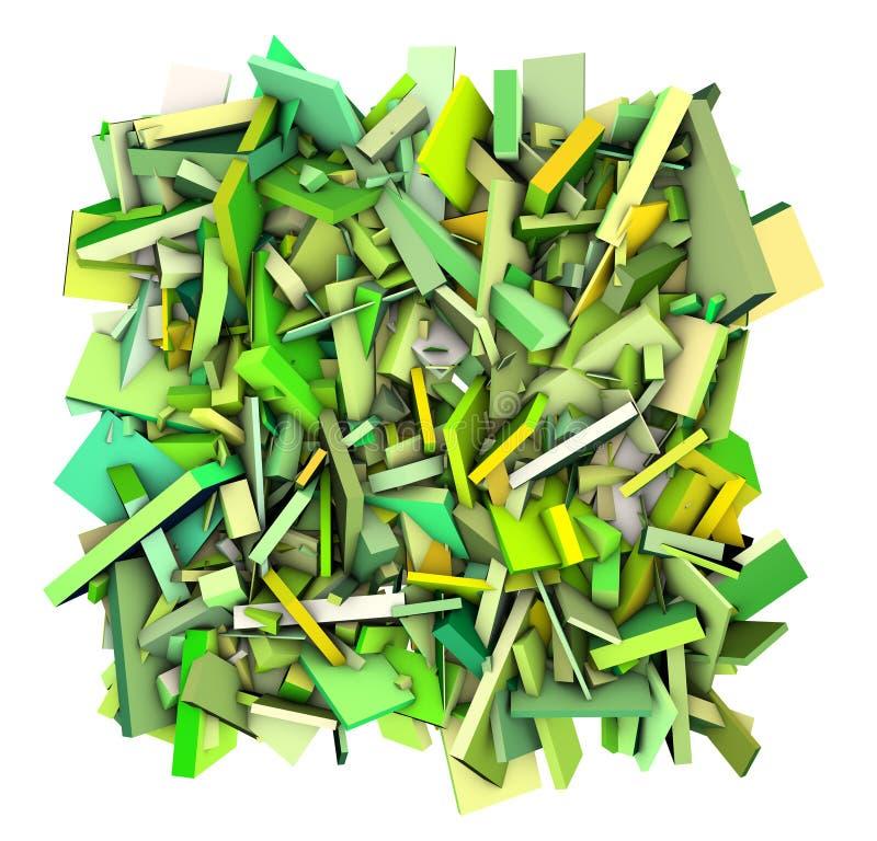 abstraktes zersplittertes Grüngelb der Formen 3d stock abbildung