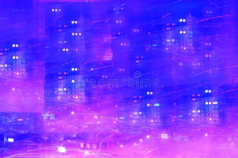 Abstraktion av nattstaden, bilden av hastighet för modernt liv royaltyfria bilder