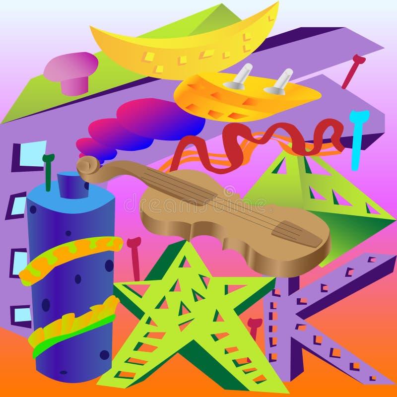 Abstraktion av olika objekt, fiol, tak, banan, oval, stjärna, bokstav royaltyfri illustrationer