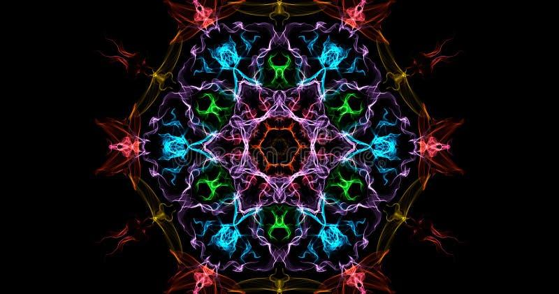 Abstraktion av symmetrisk rök för färg på en svart bakgrund fotografering för bildbyråer