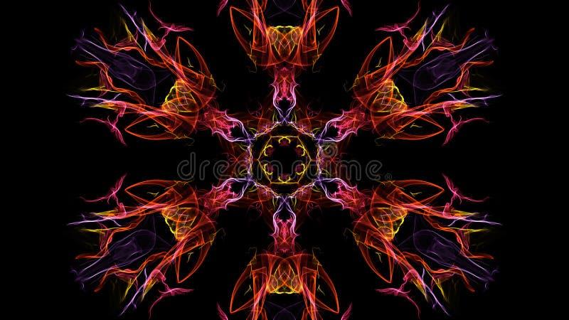 Abstraktion av symmetrisk rök för färg på en svart bakgrund arkivfoton
